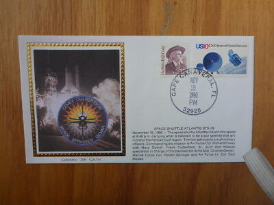 Vintage Usa Colorano Silk Illustrated Space Fdc - Atlantis Sts-38 Launch