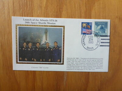 Vintage Usa Colorano Silk Illustrated Space Fdc - Atlantis Sts-36 Crew