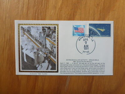 VINTAGE USA COLORANO SILK ILLUSTRATED SPACE FDC - 39th MISSION SPACE WALK