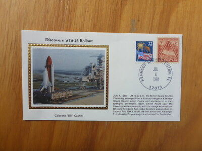 Vintage Usa Colorano Silk Illustrated Space Fdc - Discovery Sts-26 Rollout