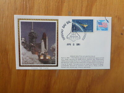 Vintage Usa Colorano Silk Illustrated Space Fdc - Atlantis Sts-37 Launch