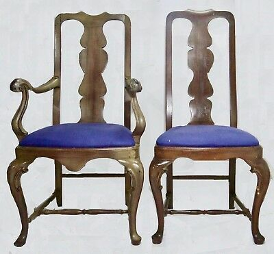 Period 18th Century Queen Anne Chairs (2) Scrolled Arms & Knees Walnut  (c.1750)