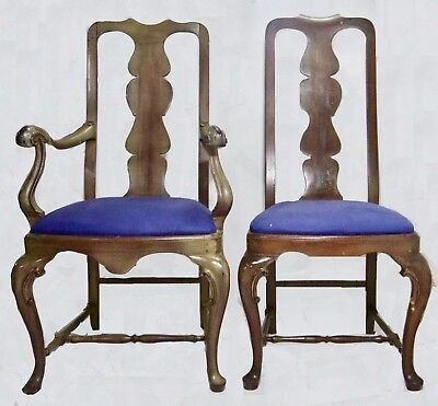 *SALE!* Period Queen Anne Side Chairs (2) Scrolled Arms & Knees Walnut  (c.1720)