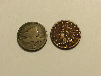 BB434 Lot of 2 Scarce Cents 1858 SL Flying Eagle CW 1863 Token 'Boat'Avg Circ