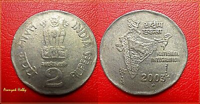 INDIA 2003 rupees 2 copper nickel scarce obverse double die error coin