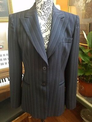Armani Collezioni Italy Black 2Pc Wool Pinstriped Long Pants Suit Sz 6. Exc Cnd!