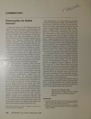 Nobel Prize for Physiology Thomas H. Weller Hand Signed Page Todd Mueller COA