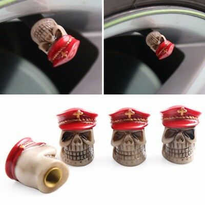 4pcs Police Cap Skull Head Car Wheel Tyre Tire Air Valve Stem Caps Dust Cover