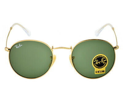 9dcd351f60 Brand-New Ray-Ban RB3447 001 50mm ROUND Gold Metal Frame Classic Green G