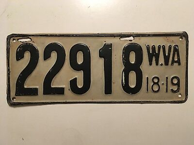 1918 1919 West Virginia License Plate 100% ALL ORIGINAL PAINT NICE!!