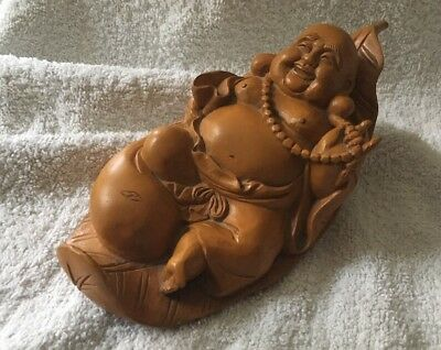 Antique Carved Wooden Oriental Buddha Resting On Leaf