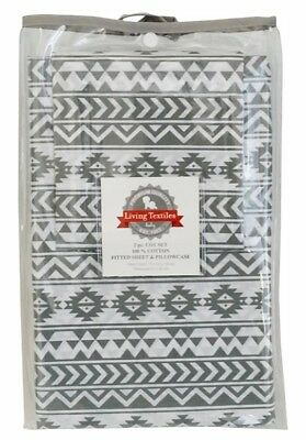Living Textiles 2 Piece Cot Sheet Set Fitted Sheet & Pillowcase - Tribal Grey
