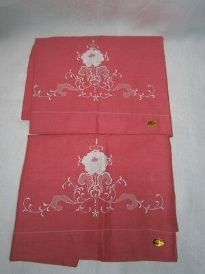 Pair Vintage 1950's 100% Cotton  Embroidered Pillowcases New Old Stock