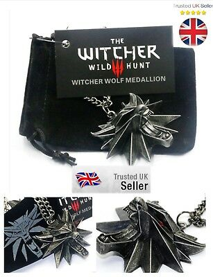 Witcher 3 Necklace Wild Hunt Geralt Medallion Pendant Wolf Head Game PS4 PC Xbox