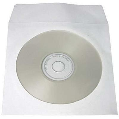 100 Piece Cd Dvd Paper Sleeves Envelopes Flap Clear Window Storage Covers White