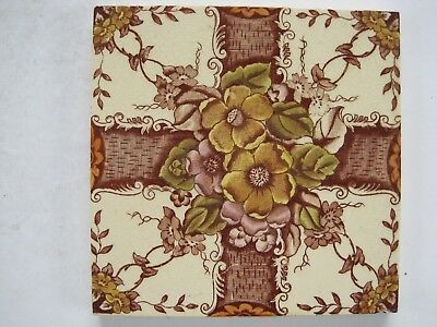 Antique Victorian Print And Tint Tile - Flowers And Trellis