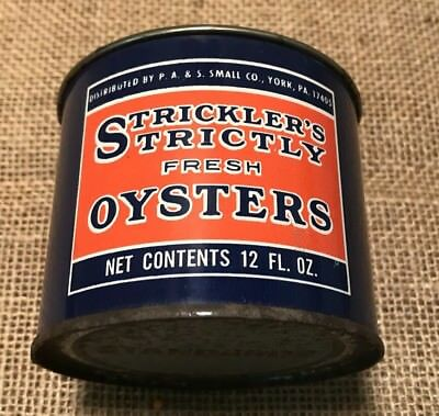 York, Pa. Strickler's Oyster - P.A. &S. Small Oyster Tin 12 Oz Nice!!