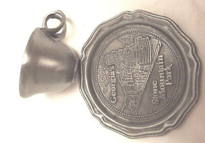 Vintage Georgia's Stone Mountain Park Demitasse Cup and Saucer Pewter  made USA