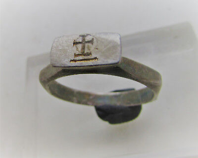 Superb Early Byzantine Silver Crusaders Ring With Protruding Cross