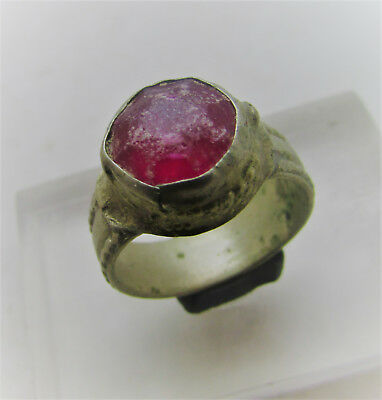 Beautiful Post Medieval Bronze Ring With Glass Insert