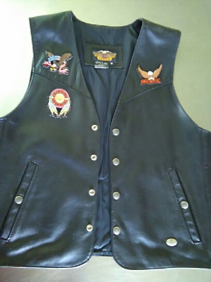 HARLEY DAVIDSON (M) Leather Vest Black BASIC SKINS 98240-97VM With Patches