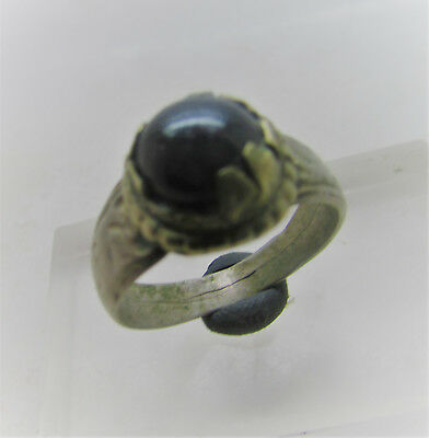 Lovely Post Medieval Bronze Ring With Stone Insert