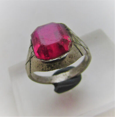 Lovely Post Medieval Bronze Ring With Faceted Glass Insert.
