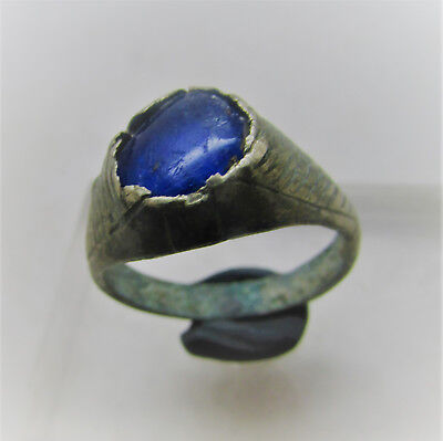 Lovely Post Medieval Bronze Ring With Stone Insert.