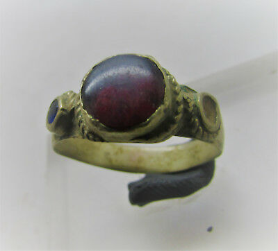 Lovely Post Medieval Decorated Bronze Ring With Stone Inserts