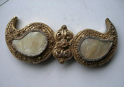 Antique . Handmade Gold-Plated Filigree Silver Belt Buckle. Ottoman Empire, Gree