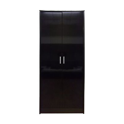 Khabat High Gloss Set 2 or 3 door wardrobe in black and Walnut or White & Black