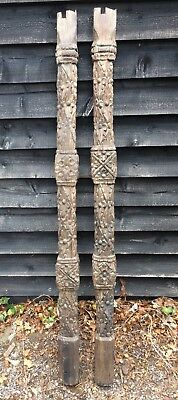 Very Early / Antique Carved Wooden Pillars/Posts 16th/17th Century