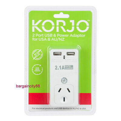 New Korjo 2Port USB Travel Charger Adaptor for CANADA/US USA/AUS/NZ from AU AUST