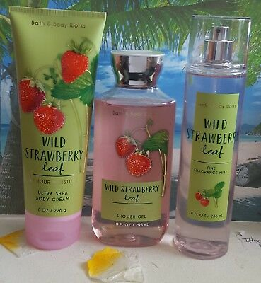 bath and body works wild strawberry leaf shower gel body cream fine fragrance