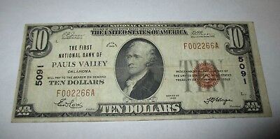 $10 1929 Pauls Valley Oklahoma OK National Currency Bank Note Bill Ch #5091 FINE