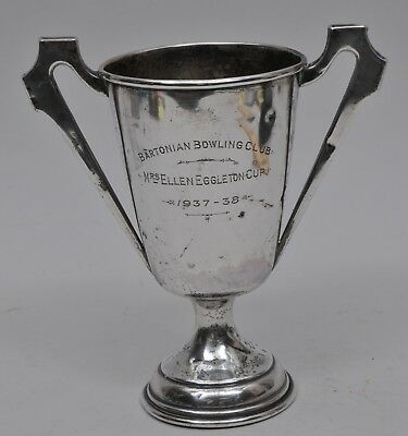 1937 STERLING SILVER ENGRAVED BOWLING TROPHY CUP BIRMINGHAM  216 g