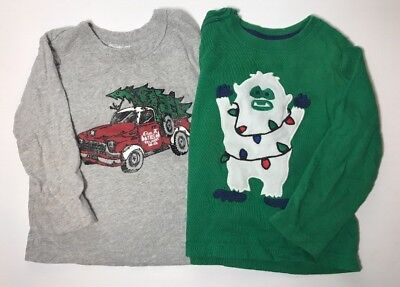 Lot Of 2 Christmas Toddler 2T Pickup Truck Tree Abominable Snowman Holiday Yeti