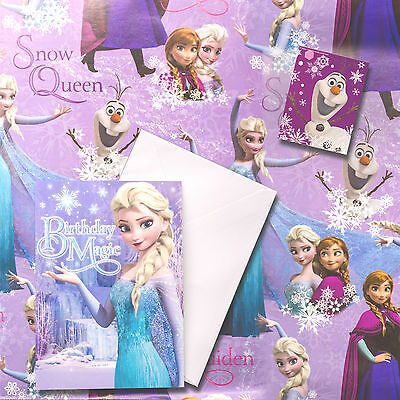 Disney FROZEN Birthday Card + Gift Wrap + 1 Tag Set Birthday Girl Princess Party