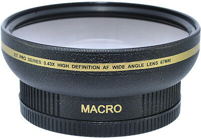 WIDE ANGLE .43X CONVERSION LENS + MACRO FITS 67mm THREAD ON NIKON CANON SONY Cam