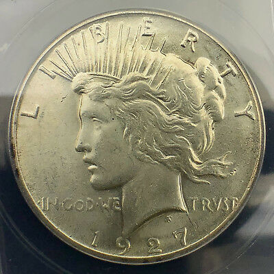 1927-P Peace Silver Dollar -- ANACS AU-58 with Nice Original Mint Luster