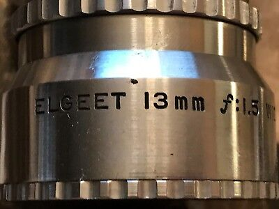Elgeet 13mm f:1.5 Wide Angle Lens Vintage Photography Video MADE IN USA