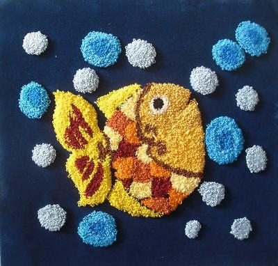 """Complete Punch needle picture A fish with bubbles on blue velvet 11.5""""x12.2"""""""