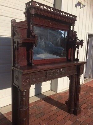 Vintage Antique Victorian Fireplace Mantel, Wood and Tiles,Very Unique,Beautiful