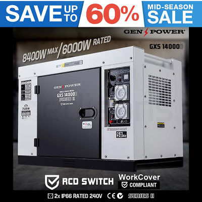 NEW GENPOWER 8.4kVA Max 6kVA Rated Diesel Generator Single Phase Commercial RCD