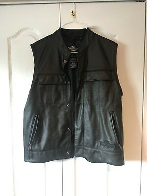 Mens Harley-Davidson Button Front Leather Vest - Size Large