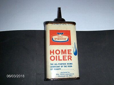 WM. PENN HOME OILER tin can; handy oil, gas, petroliana.
