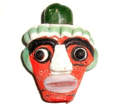 Old Phoenician Head Yellow Lip Face White Hair nose Mosaic Glass Bead 225