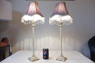 Pair Of Tall Antique Style Table Lamps With Vintage Shades