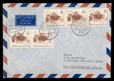 DR WHO 1969 BRAUNSCHWEIG GERMANY CANCEL AIRMAIL TO SOUTH AFRICA STRIP  d32994