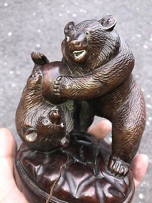 Antique 19 C Chinese Japanese Carved Black Forest 2 Bears Figures And Glass Eyes